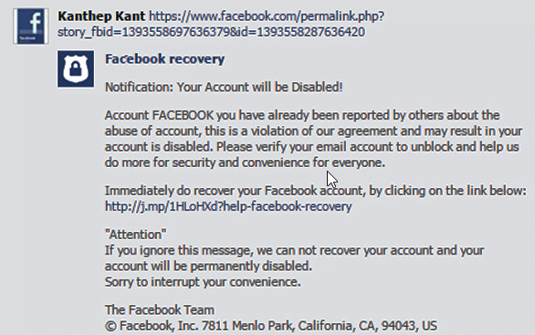 Disabled message of Facebook