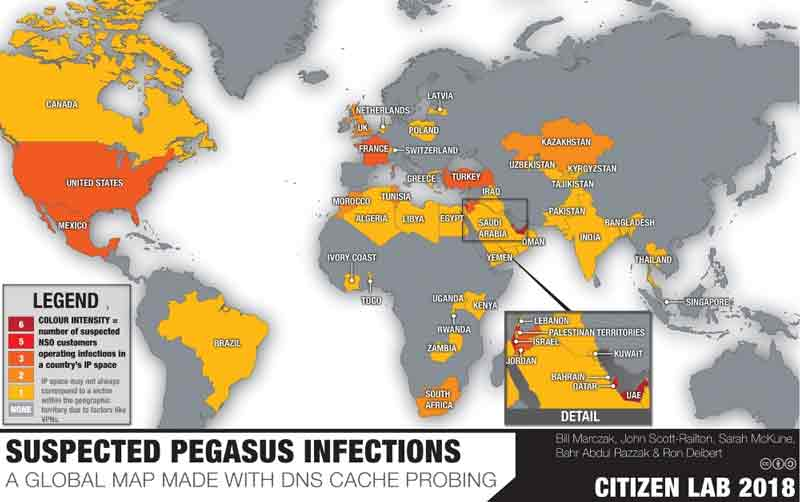 Affected countries due to Pegasus